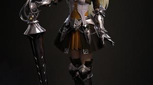 Cifangyi CGi Women Blonde Warrior Armor Knight Steel Lance Weapon Simple Background 3403x4000 Wallpaper