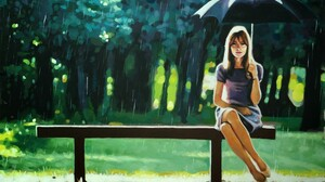 Painting Rain Umbrella Women Bench Artwork On Bench Women With Umbrella 2000x1372 Wallpaper