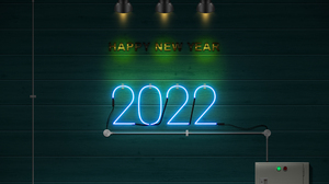 Neon Sign New Year Happy New Year 2022 4000x3000 Wallpaper