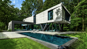 House Modern Architecture Swimming Pool Outdoors Germany 1582x890 Wallpaper
