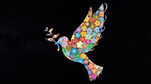 Artistic Colorful Colors Dove Flower Leaf Peace 2000x1000 Wallpaper