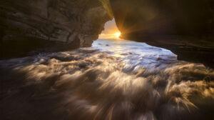 Cave Nature Ocean Rock Sun Sunbeam Sunrise 2000x1335 Wallpaper