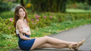 Asian Model Women Long Hair Dark Hair Sitting Nylons Sandals Grass Bushes Depth Of Field Earrings 1920x1280 Wallpaper