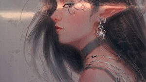 Portrait Women Artwork Fantasy Art ArtStation Fantasy Girl Pointy Ears Dark Hair Long Hair Simple Ba 1920x2432 Wallpaper
