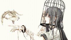 Anime Girls Bouno Satoshi School Uniform Bandage Cages Birdcage Birds 4092x2893 Wallpaper