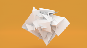 Orange Color Abstract White Minimalist Paper 3D CGi Digital Art Low Poly Facets 2880x1800 Wallpaper