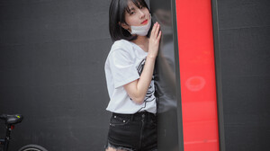 Korean Korean Women Short Pants Face Mask White T Shirt Black Hair Short Hair Looking At Viewer 5000x3333 Wallpaper