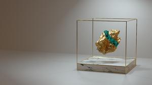 Gold Emerald Gems Luxury Cryptocurrency Cryptoart Frame Octane OctaneRender Cinema 4D Simple Backgro 3840x2160 Wallpaper