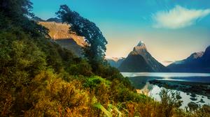 Fjord Milford Sound Mitre Peak Mountain New Zealand Peak 7263x4866 wallpaper