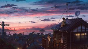Anime Girls Anime Sky Clouds Rooftops Short Hair Long Hair Brunette 2627x1447 Wallpaper