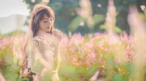 Artistic Asian Bokeh Chinese Girl Jancy Wong Smile Sunshine 2048x1280 Wallpaper