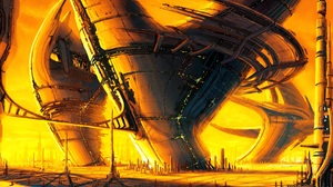 Digital Art Artwork Yellow Science Fiction Futuristic Building Cyberpunk Drawing World Dystopian Sun 2670x1502 Wallpaper