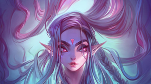Elf Face Girl Pink Eyes Pointed Ears White Hair Woman 3840x2160 Wallpaper