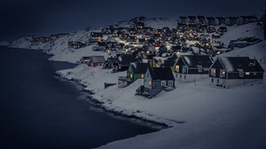 House Lake Light Night Snow Village Winter 2560x1600 Wallpaper