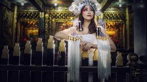 Model Headdress Lipstick Traditional Costume Makeup Brunette 2047x1245 wallpaper