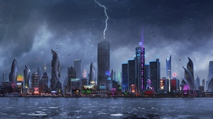 Building City Futuristic Lightning Skyscraper 1920x1080 Wallpaper