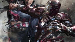 Captain America Steve Rogers Iron Man Tony Stark Marvel Comics Artwork Digital Art Battle Civil War  866x1299 Wallpaper