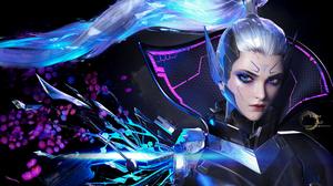 Yihao Ren CGi League Of Legends Women Vayne League Of Legends Vayne Ponytail Cyborg Portrait Glowing 3840x2367 Wallpaper
