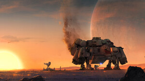 Bethesda Softworks Concept Art Video Games Spaceship Sunset Robot Planet STARFiELD The Game 5800x3021 Wallpaper