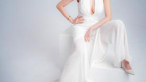 Asian Model Women Long Hair Dark Hair Sitting White Dress White Heels Bracelets Necklace Earring Pon 3000x4500 wallpaper