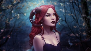 Girl Demon Lipstick Red Hair Orange Eyes Horns Woman 3000x1690 Wallpaper
