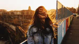 Women Brunette Jean Jacket Sunset Wind Portrait Jeans Jacket Hair In Face Women Outdoors 2000x1333 Wallpaper
