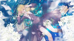 Anime Anime Girls Long Hair Honkai Impact 3rd In Water Flowers Books Green Eyes Fish Ribbons Looking 3363x1975 Wallpaper