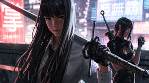 Black Hair Girl Long Hair Sword Woman Warrior 5120x2880 Wallpaper
