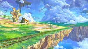 Cloud Floating Island Flower Landscape Nature Scenic Sky Train Station Windmill 1920x1344 Wallpaper