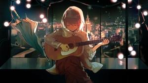 Instrument Guitar Anime Boys Anime Kagamine Len Vocaloid Closed Eyes Lobelia 3024x1700 Wallpaper