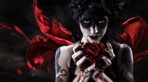 Dark Demon Fantasy Girl Lipstick Rose Tattoo Woman 3865x2576 Wallpaper