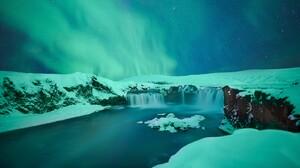 Aurora Borealis Earth Sky Waterfall Winter 6016x4016 Wallpaper