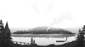 Fredrik Persson Digital Art Island Lake Gray Forest Boat Fantasy Art Eyes Antlers Mist 1920x1080 Wallpaper