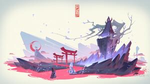 Jun Zhang Asian Architecture White Background Digital Art River Moon Crescent Moon Clouds 1920x1008 Wallpaper