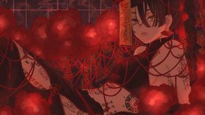 Anime Anime Girls Smoke Long Hair Dark Hair Tattoo Flowers Ribbons Earrings Hat Black Dress Yellow E 4589x3335 Wallpaper