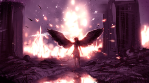 Angel Bird Light Ruin Tail Wings 2399x1340 Wallpaper