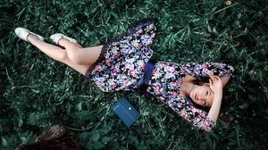 Women Model Dress Summer Dress Looking Up High Angle Legs Women Outdoors Books Plants 2560x1879 Wallpaper