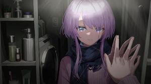 Anime Girls Crying Bathroom Mirror Reflection POV Purple Hair Blue Eyes Artwork NadeGata 1920x1080 Wallpaper