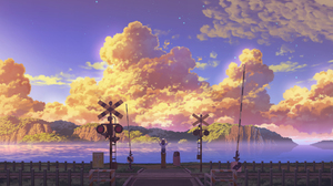 Cloud Earth Girl Railroad Scenery Sea Sky Stars Sunset 2181x1240 Wallpaper