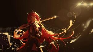 Video Games Arknights Video Game Characters Surtr Arknights Horns Long Hair Redhead Violin 6362x3824 Wallpaper