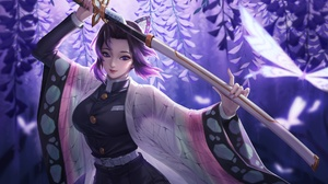 Girl Sword Purple Eyes Katana Purple Hair Shinobu Kochou 1920x1195 Wallpaper