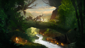 Digital Art Landscape Lights River 2560x1323 Wallpaper