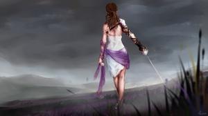 Girl Woman Woman Warrior Sky Landscape 2707x1520 wallpaper