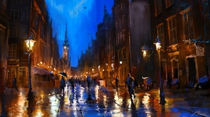 Building Gdansk Lamp Post Night Painting People Poland Town 1920x1080 Wallpaper