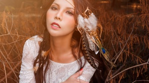 Asian Brown Eyes Brunette Feather Girl Model Woman 2048x1463 wallpaper