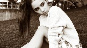Ksenia Kokoreva Women Long Hair Ponytail Looking Away Legs Sneakers Grass Monochrome Sepia 1080x1348 wallpaper