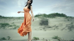 Asian Women Model Dress Orange Dress Women Outdoors Barefoot Dark Hair Looking At Viewer Standing Ti 2400x1600 Wallpaper