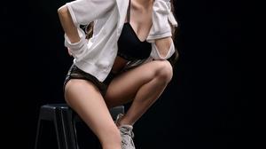 Asian Model Women Long Hair Dark Hair Shorts Sneakers Ladders Black Top Ponytail Hoods Sitting 2743x3840 Wallpaper