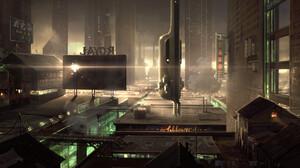 Artwork Digital Art Fantasy Art Futuristic Cyberpunk Outdoors Urban Rooftops Empty Tower Building Pu 3840x1671 Wallpaper