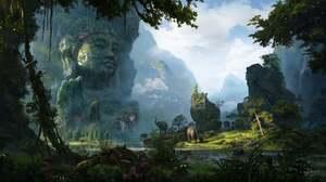 Artwork Digital Art Statue Nature Forest 1700x937 Wallpaper
